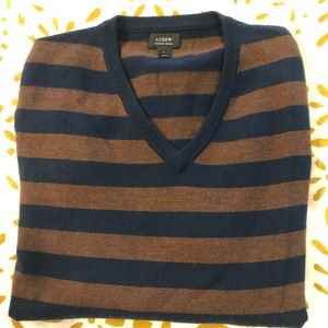 JCrew Merino VNeck Stripe Sweater - M - Brown/Navy